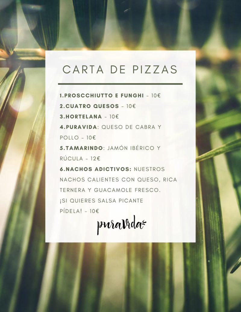 Carta pizza Pura vida terraza
